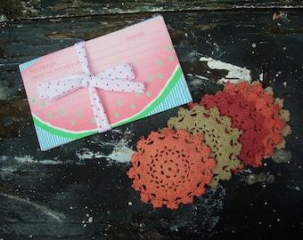 Vintage Crochet.  Vintage Paper Recipe Cards . Crochet Flowers.Vintage Doily Medallions. Vintage Paper Ephemera. Orange. Red. Encru. Olive