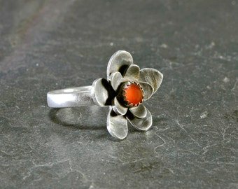 Sterling silver flower cocktail ring with red coral stone - custom and handmade - RG776