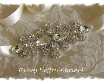 Bridal Wedding Head Piece, Crystal Rhinestone Bridal Ribbon Headband, No. 1181HB, Jeweled Bridal Headband, Crystal Wedding Headpiece, SALE