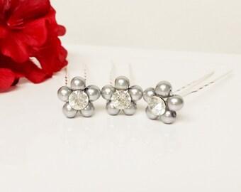 Brilliant Silver Pearl Hair Pins - Set of 3 Bridesmaid Hair Pins - Rhinestone Flower Girl Hair Accessories