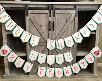 April Showers Bring May Flowers Banner-Customizable-Baby Shower