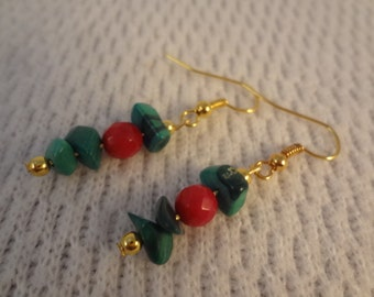 Christmas Green Malachite and Red Coral 22k Gold Small Dangle Hook Earrings -  Kimberly F074