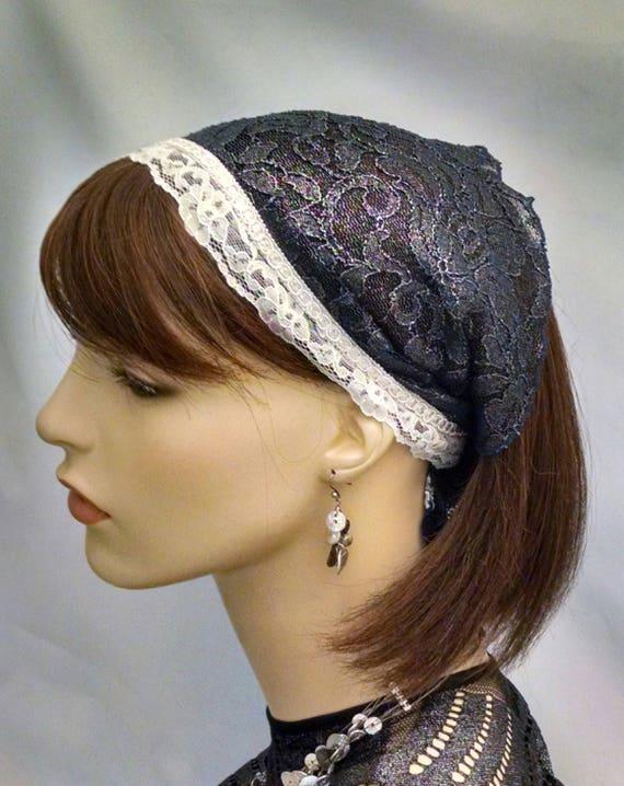 Classic Elegance navy lace headband, headbands, hair assessories, frisette