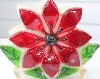 Beautifu Vintage Deep Cranberry Red Flower Lucite Napkin or Mail holder