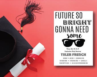 Future So Bright DIY Printable Graduation Invitation