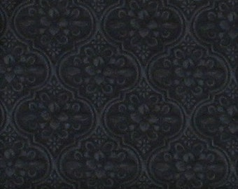 Black Tone on Tone Moroccan Tile Inspired Cotton Quilt Blender Fabric, Greenery Collection by Maywood Studio, Yardage, MAS8294-J