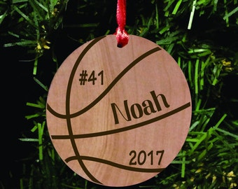 Basketball Wood Ornament, Sports Ornament, Wood Tag, Basketball Player Gift, Engraved Ornament, and Personalized as a Basketball