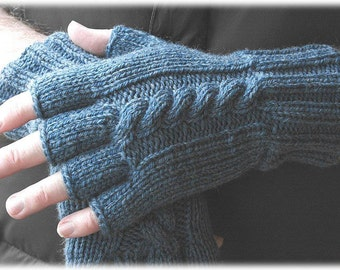 Men's wool fingerless gloves in washed denim