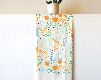 Patterned Cotton Tea Towel | Printed Dish Towel | Floral Kitchen Towel | Gift for Her | Floral Pattern Dishcloth | Housewarming Gift