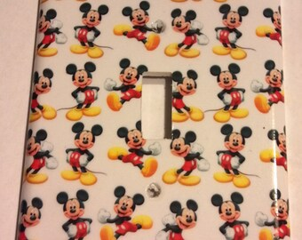 Mickey Mouse Different Poses White Background Single Toggle Light Switch Plate Cover