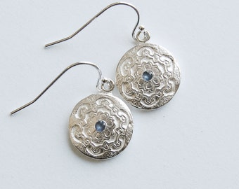 Silver Sapphire Earrings Blue Classic Style Dangle Drop