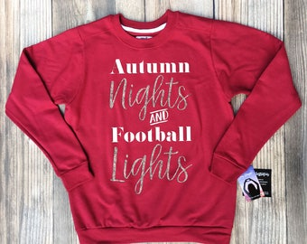 football mom sweatshirt, football sweatshirt, football mom sweatshirt with bling, glitter gold, glitter silver, autumn nights and football