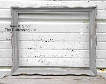 11x14 Picture Frame with Glass Rustic Vintage Shabby Chic 11 x 14 You pick color Ivory Black Aqua Mint White Gray Scalloped Antique Wood