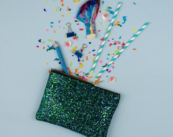 Mermaid Green Glitter Party Clutch Purse Make Up Bag.