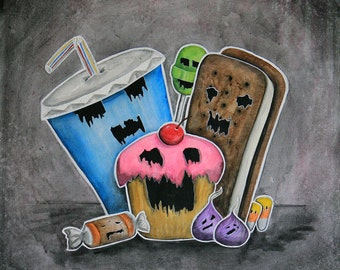 Axis of Evil - 8x10 Art Print - Evil Cup Cake, Soda, Ice Cream Sandwich, Lollipop, Candy Corn & Tootsie Roll - Art by Marcia Furman