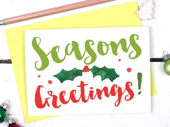 Seasons greetings christmas card alternative christmas card m4hsunfo