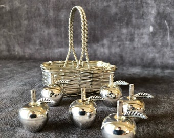 Vintage silver plated apples place card holders in basket
