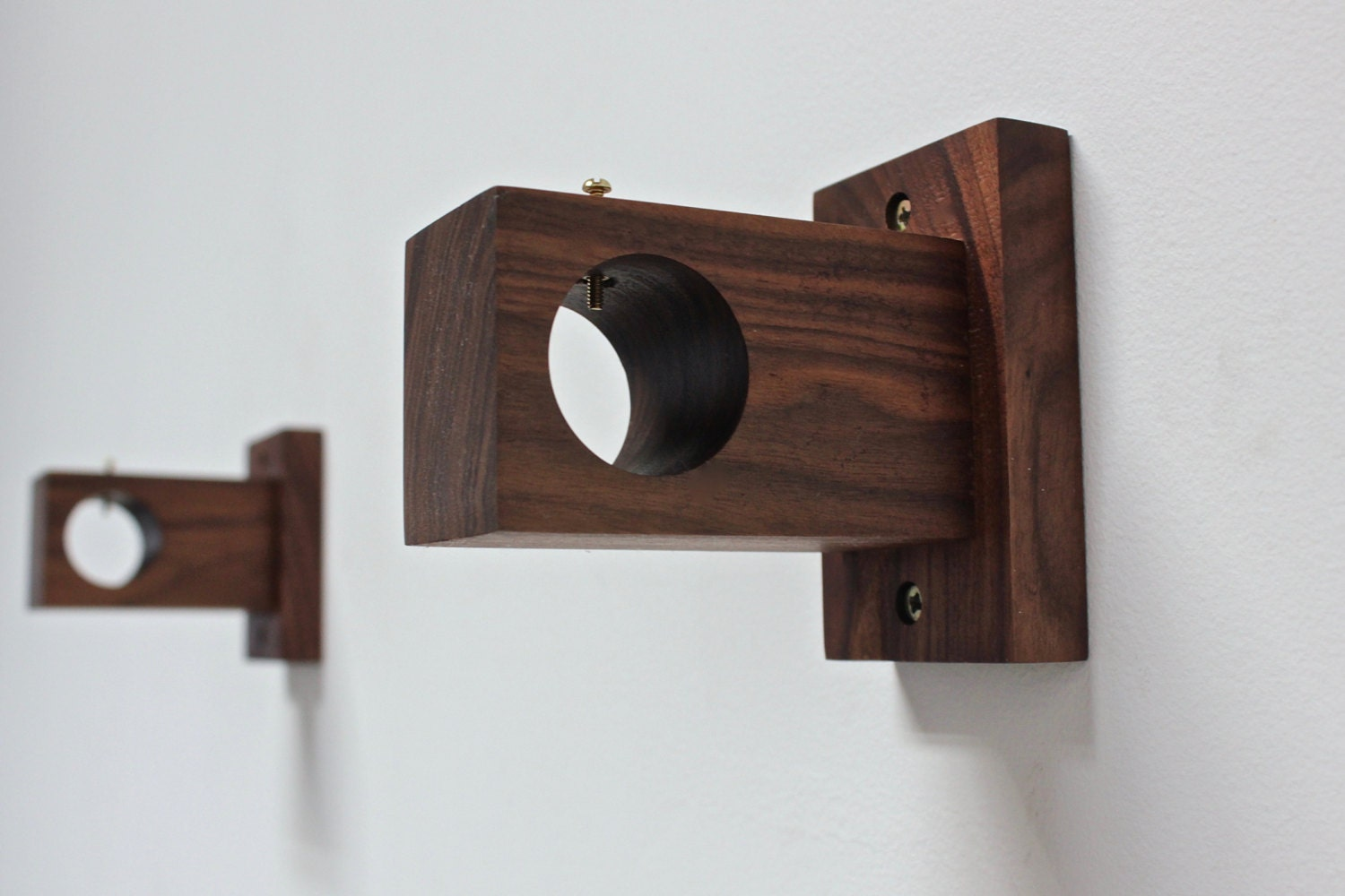 Curtain Rod Holder Bracket Modern Wood