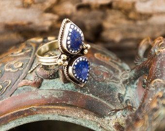 Whimsical Lapis Ethnic Tibetan Blue Tribal Leaf Ring