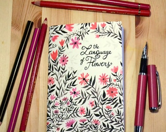 Small illustrated notebook - The Language of Flowers - red