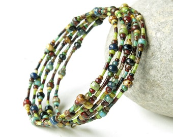 Beaded bracelet stack - Multicolor Picasso Czech glass beads stacked memory wire cuff