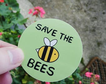 Save the Bees - Bee Stickers, Vegan Stickers, Cute Stickers, Notebook Stickers, Laptop Stickers, Bees, Vegan Accessories, Cruelty Free