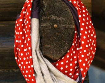 Red Cotton Scarf, Gift for Mom Scarf, Red Polka Dot Scarf, Infinity Scarf, Gift for Wife Boho Infinity Scarf, Red Scarf, Circle Scarf Boho