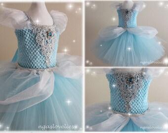 Disney Inspired Cinderella Dress - Princess Dress - Tutu Dress - Costume Dress - Halloween - Baby, Girl, Kids Dress