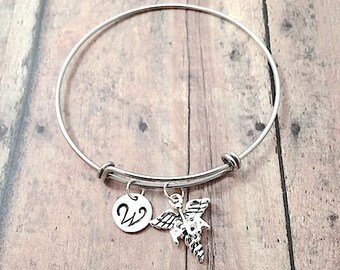 Physical therapy assistant initial bangle - PTA jewelry, caduceus bracelet, PTA bracelet, Physical therapy assistant jewelry, PTA pendant