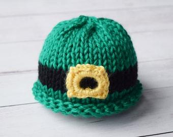 St. Patrick's Day Newborn Hat  - Knit Green and White Baby Hat - Irish Green - St Patricks Day Baby Hat - Leprechaun newborn baby hat