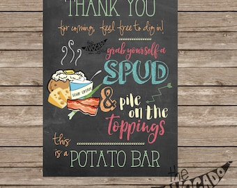 Chalkboard Potato Bar Sign - DIY Printing - INSTANT DOWNLOAD - 2 Sizes