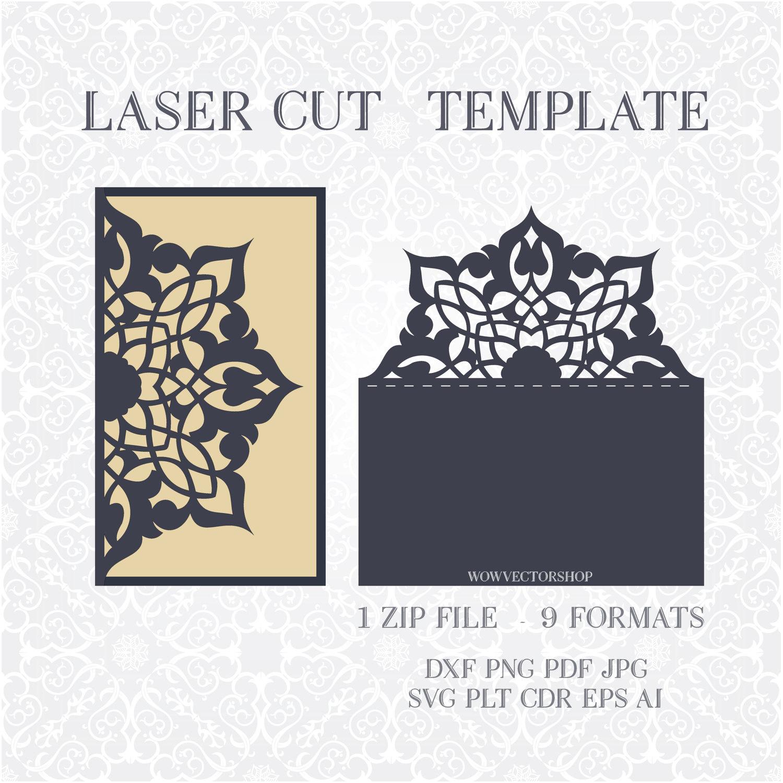 Laser Cut Envelope Template For Wedding Invitation Or Greeting
