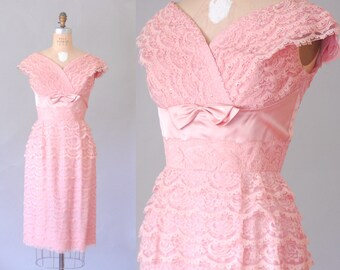 Sabrina pink lace rhinestone dress | 50s lace dress | vintage pink dress
