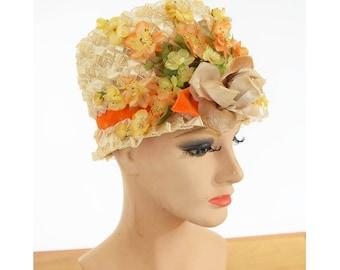 60s Cello Straw Bucket Hat-Flower Trim-Velvet Ribbon-Spring Summer Vintage Hat