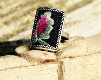 Embroidered Miao Ring/Flower ring/ boho chic ring /tribal jewelry from the Miao tribes