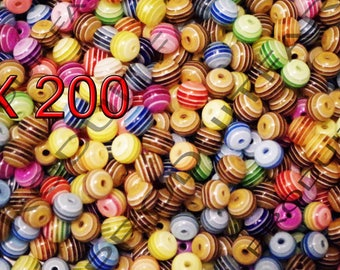 Set of 200 beads 6 mm round multicolor striped