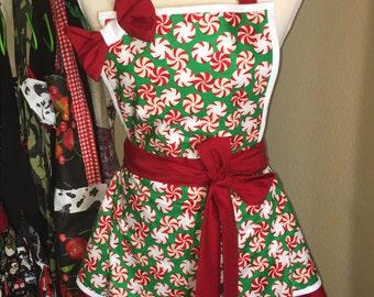 Vintage Holiday mint apron