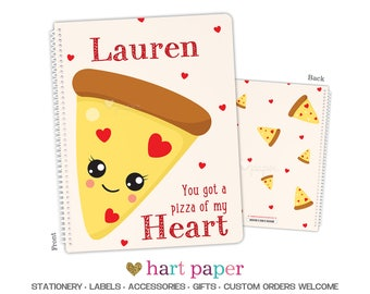 Pizza Hearts Spiral Bound Notebook • 8.5x11 OR 5.5x7.25 • Back to School Supplies Office End of Year Teacher Gift Personalized Custom