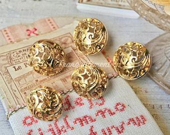 5 Small Retro Vintage Style Gold Golden Floral Wedding Blazer Jacket Coat Sweater Metal Button 0.75 Inches / 1.9 cm
