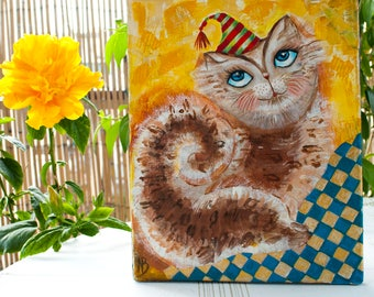 Cat canvas art Cat portrait Original cat painting Pet pamperer Charming cat Cat lovers art Christmas gift  Painting of the cat