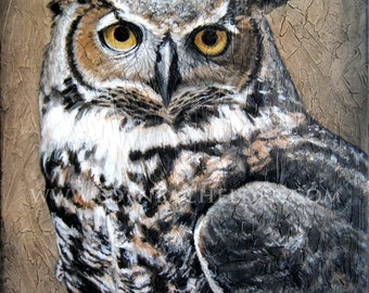Great Horned Owl signed and matted print from an original painting by Eden Bachelder