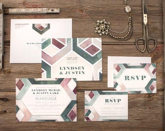 Modern Geometric Watercolour Wedding Invitations & Stationery - SAMPLE -  Artwork by Alicia's Infinity