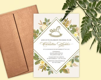 Baby Shower Invitation - Rocking Horse and Foliage - Gender Neutral - DESIGN DEPOSIT