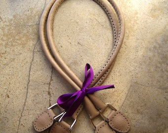Handmade Genuine Leather Purse Bag Handles in Oyster Color
