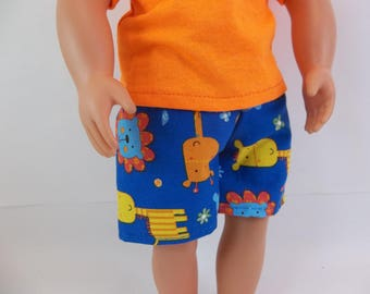 "Swimsuit or Shorts for 18"" Boy Doll Blue Circus Animals Fits American Girl Doll"