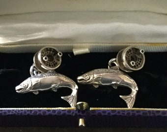 Silver Salmon and Reel Cufflinks