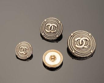 Gold Black Buttons Custom CC Shirt BeadMetal Luxury OverCoat Sewing DIY (15mm-25mm)- c7