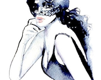 Masked Beauty, Fashion Watercolor Painting, Edgy Fashion illustration, Beautiful watercolor painting, Woman Poster, Bedroom Wall Art, Vogue