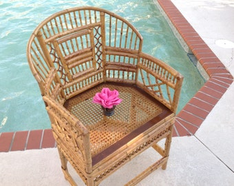BAMBOO BRIGHTON STYLE Chair / Bamboo Chippendale Style Chair with Cane Seat / Bamboo Rattan Pavillion Chinoiserie Style Retro Daisy Girl