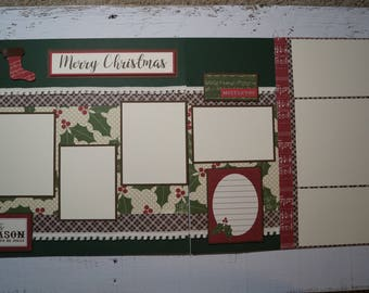 Merry Christmas 12x12 Two Page Scrapbook Layout - Premade Scrapbook Pages